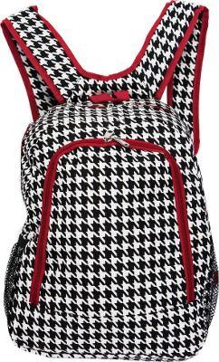 World Traveler Houndstooth 16 inch Multipurpose Backpack Red Trim Houndstooth - World Traveler Everyday Backpacks