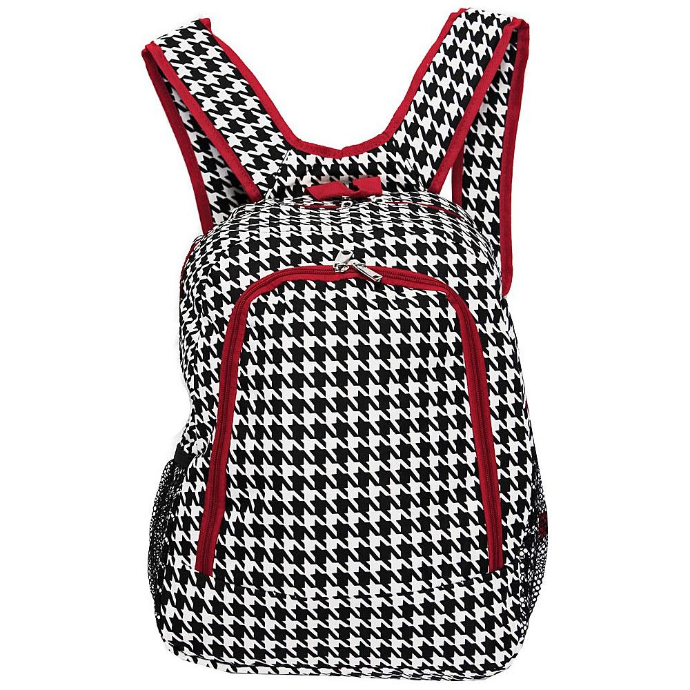 World Traveler Houndstooth 16 Multipurpose Backpack Red Trim Houndstooth - World Traveler Everyday Backpacks - Backpacks, Everyday Backpacks
