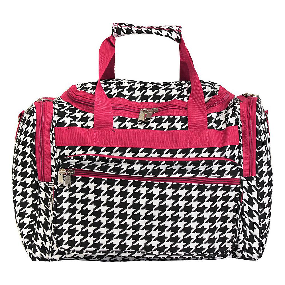 World Traveler Houndstooth 16 Shoulder Duffle Bag Fuchsia Trim Houndstooth - World Traveler Rolling Duffels - Luggage, Rolling Duffels