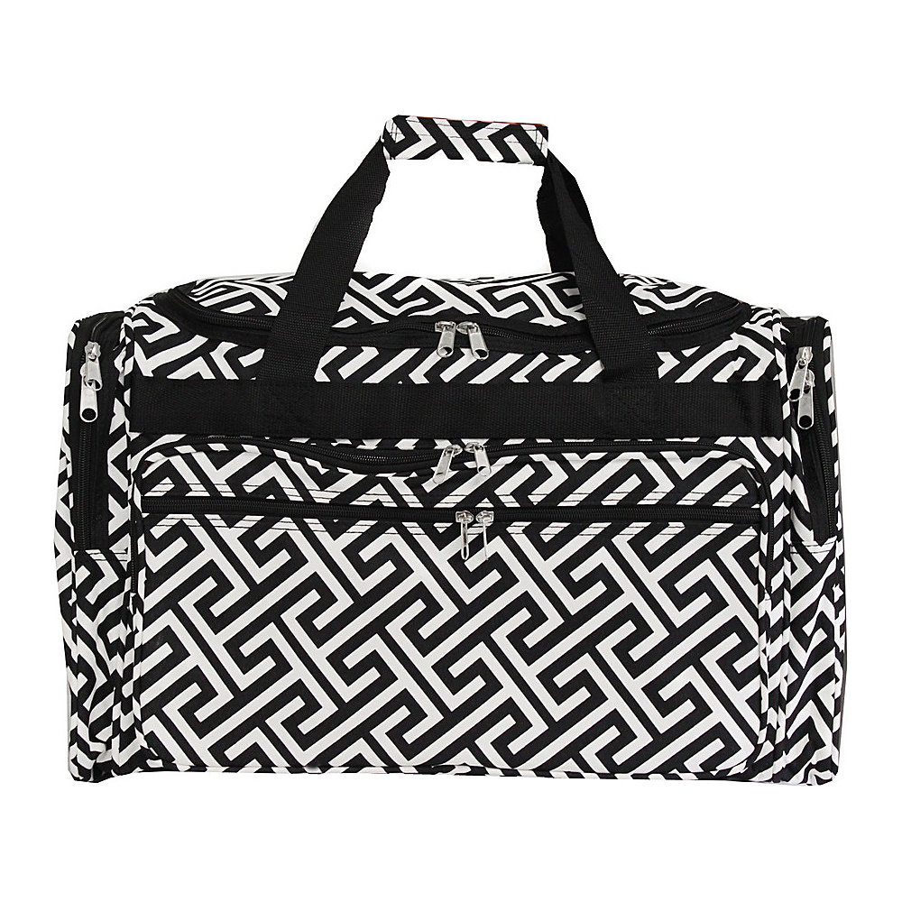 World Traveler Greek Key 19 Shoulder Duffle Bag Black White Greek Key World Traveler Rolling Duffels