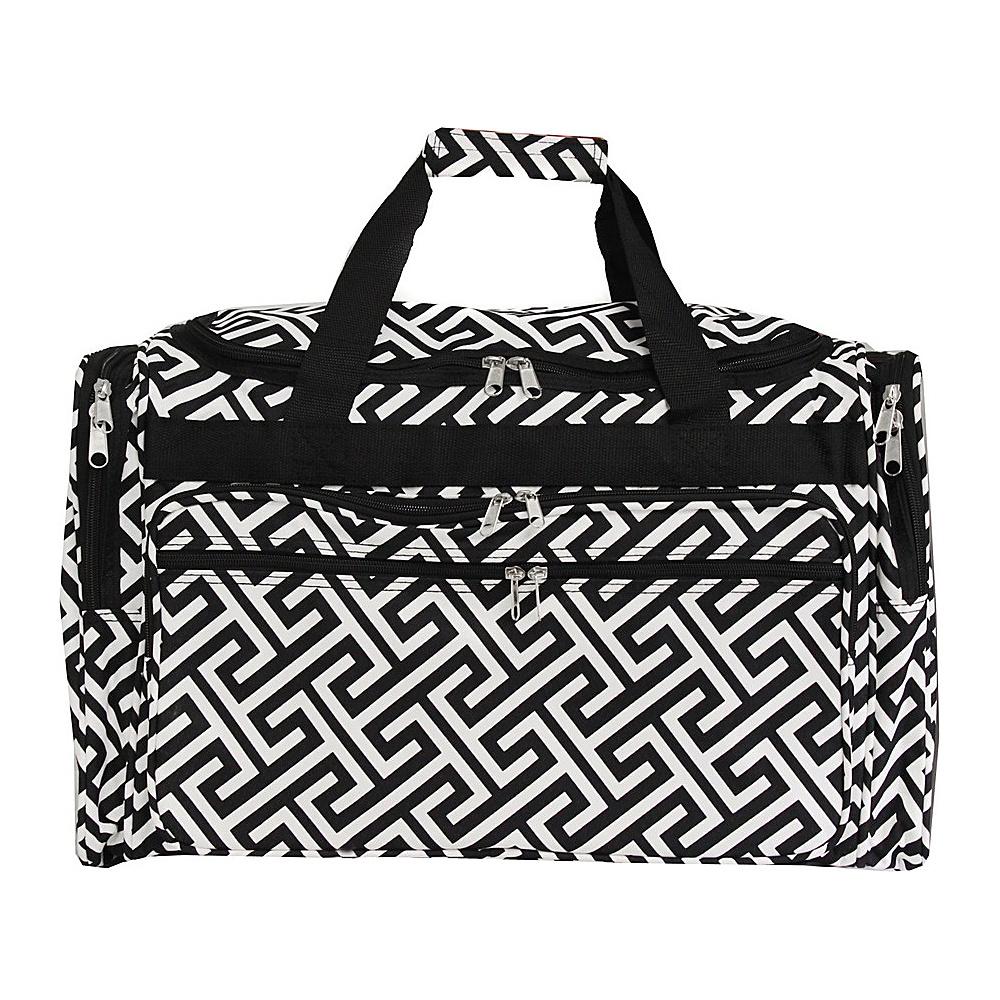 "World Traveler Greek Key 19"" Shoulder Duffle Bag Black White Greek Key - World Traveler Rolling Duffels"