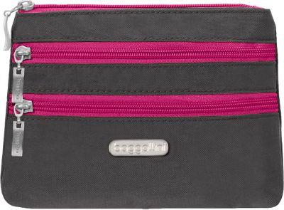 Image of baggallini 3 Zip Cosmetic Case Charcoal/Fuchsia - baggallini Women's SLG Other