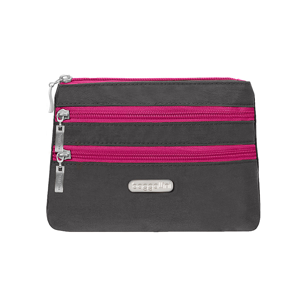 baggallini 3 Zip Cosmetic Case Charcoal/Fuchsia - baggallini Womens SLG Other - Women's SLG, Women's SLG Other