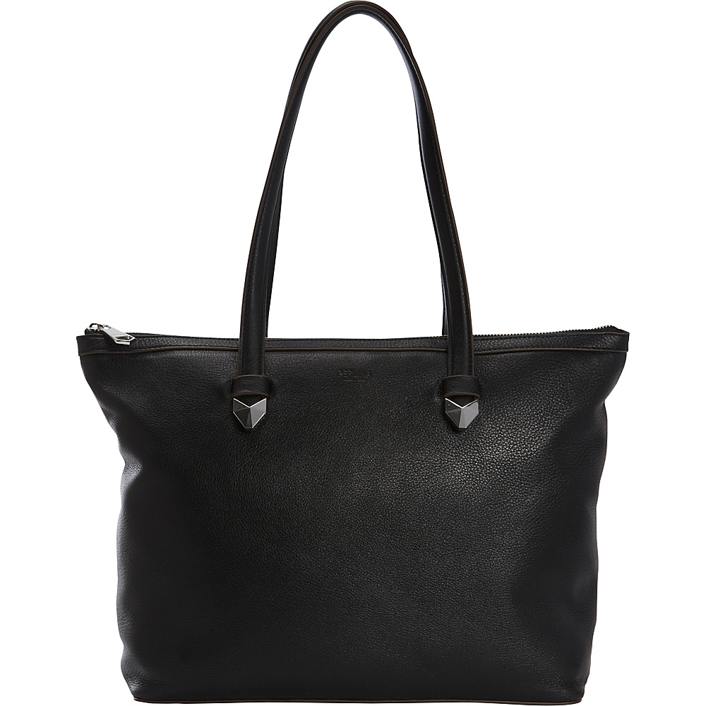 Perlina Bloom Zip Top Tote Black - Perlina Leather Handbags