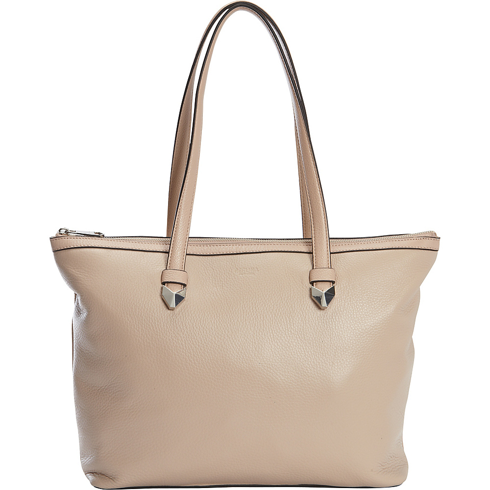 Perlina Bloom Zip Top Tote Oyster Pink - Perlina Leather Handbags