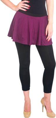 Magid Cotton Flary Skirt Leggings 1X/2X - Plum - Large/Extra Large - Magid Women's Apparel