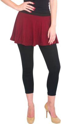 Magid Cotton Flary Skirt Leggings L/XL - Maroon - Large/Extra Large - Magid Women's Apparel