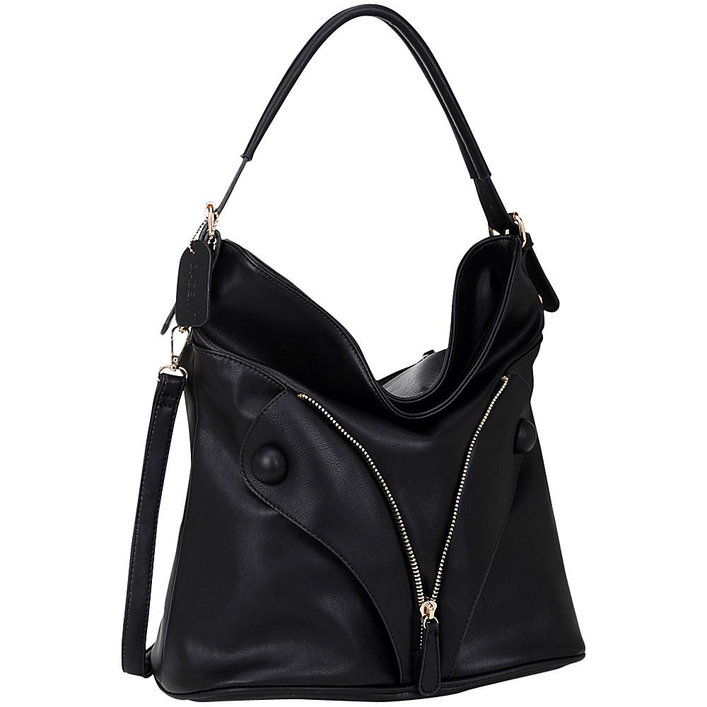 Dasein Zipped Jacket Effect Hobo Black Dasein Manmade Handbags