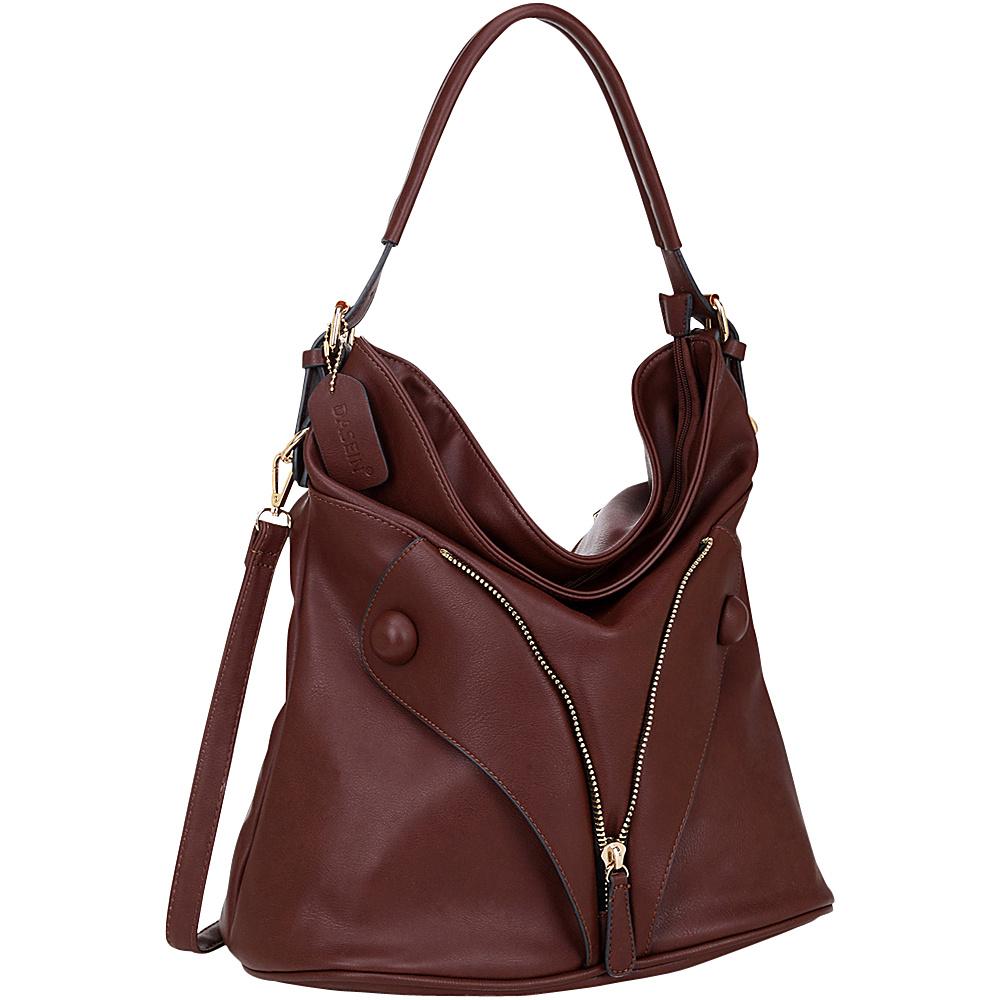 Dasein Zipped Jacket Effect Hobo Coffee Dasein Manmade Handbags