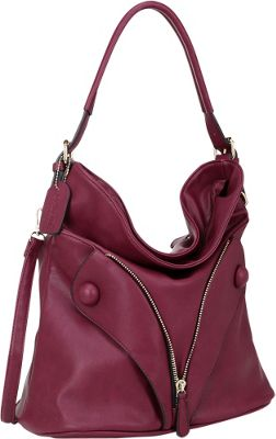 Dasein Zipped Jacket Effect Hobo Red - Dasein Manmade Handbags