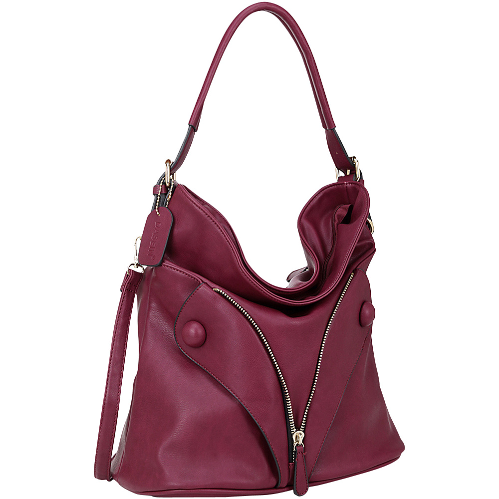Dasein Zipped Jacket Effect Hobo Red - Dasein Manmade Handbags - Handbags, Manmade Handbags