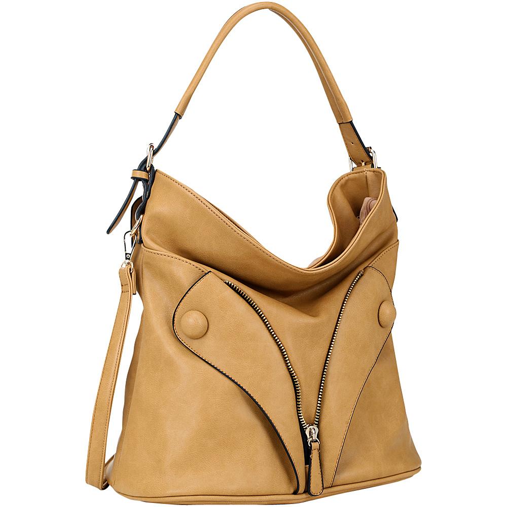 Dasein Zipped Jacket Effect Hobo Tan Dasein Manmade Handbags