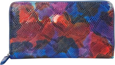 R & R Collections Tie dye Leather Zip Around Wallet Blue Multi - R & R Collections Women's Wallets