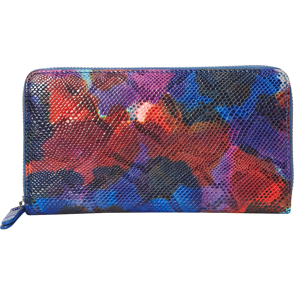 R R Collections Tie dye Leather Zip Around Wallet Blue Multi R R Collections Women s Wallets