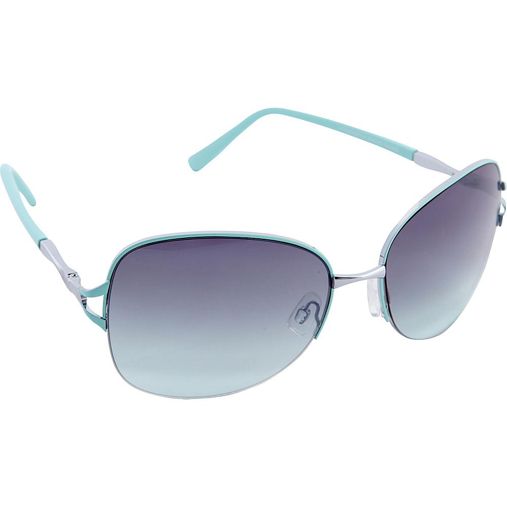 Nanette Nanette Lepore Sunglasses Semi Rimless Frame Sunglasses Silver / Aqua - Nanette Nanette Lepore Sunglasses Sunglasses