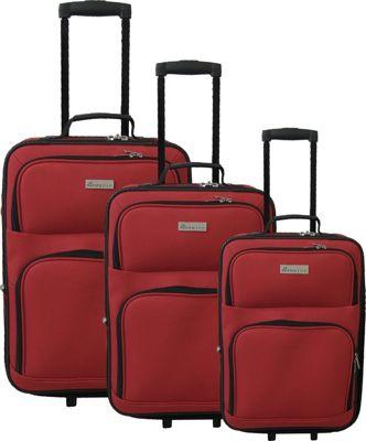 McBrine Luggage 3-Piece Soft-Sided Set Red - McBrine Luggage Luggage Sets