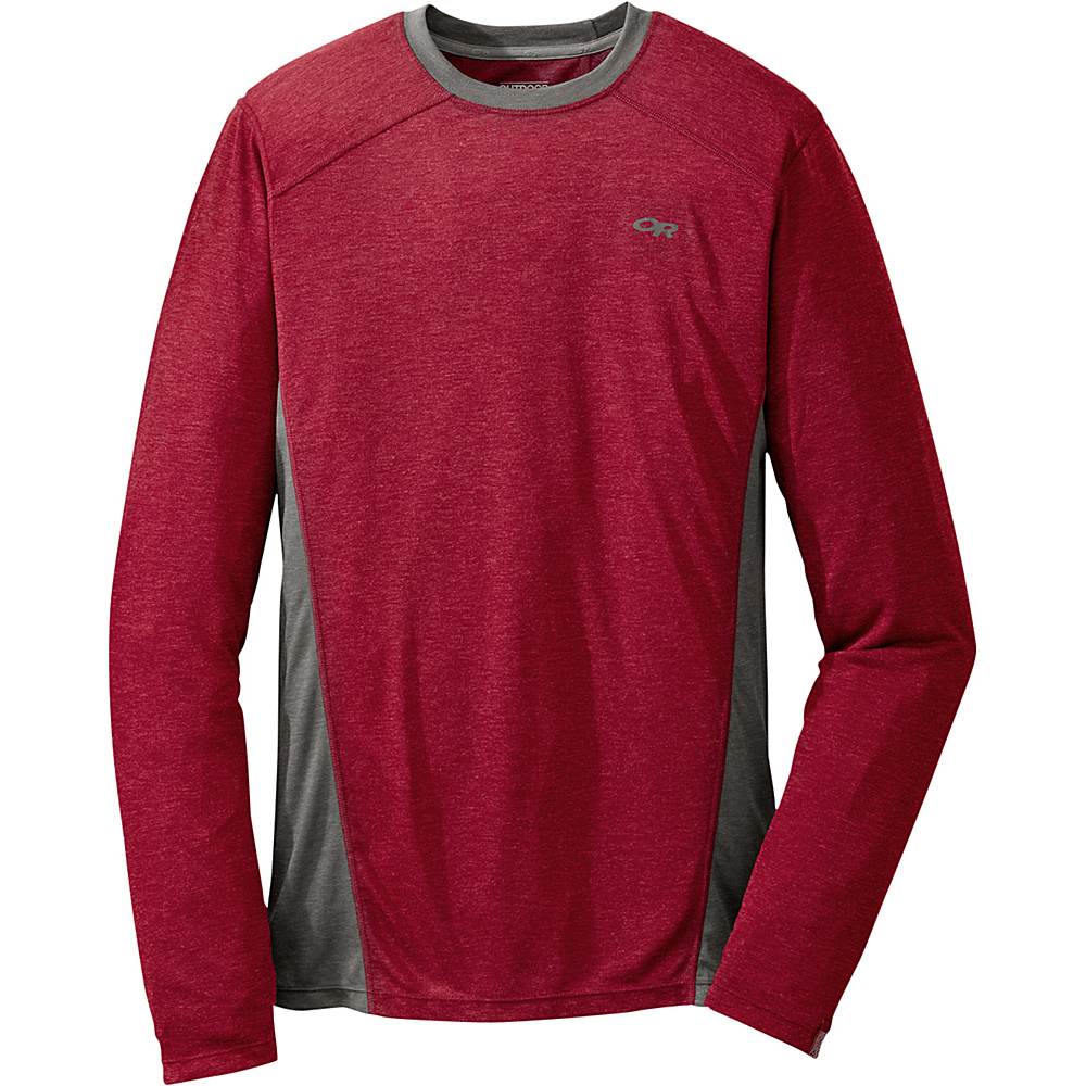 Outdoor Research Mens Sequence L/S Crew L - Redwood/Charcoal - Outdoor Research Mens Apparel - Apparel & Footwear, Men's Apparel
