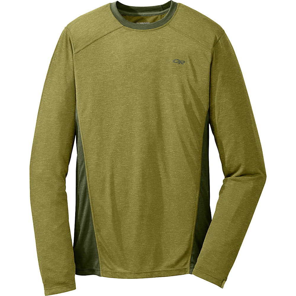 Outdoor Research Mens Sequence L/S Crew XL - Hops/Kale - Outdoor Research Mens Apparel - Apparel & Footwear, Men's Apparel