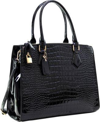 Image of Dasein Patent Faux Leather Croco Embossed Chain Strap Satchel Black - Dasein Manmade Handbags