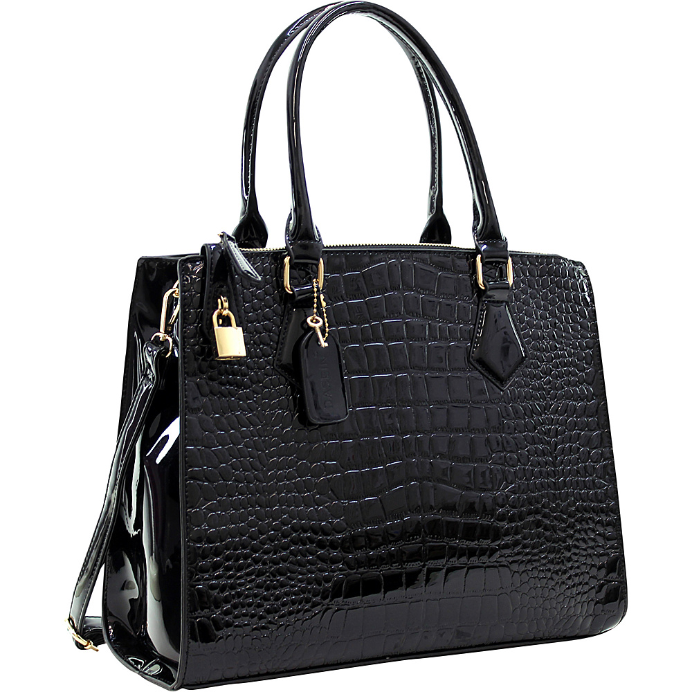 Dasein Patent Faux Leather Croco Embossed Chain Strap Satchel Black - Dasein Gym Bags