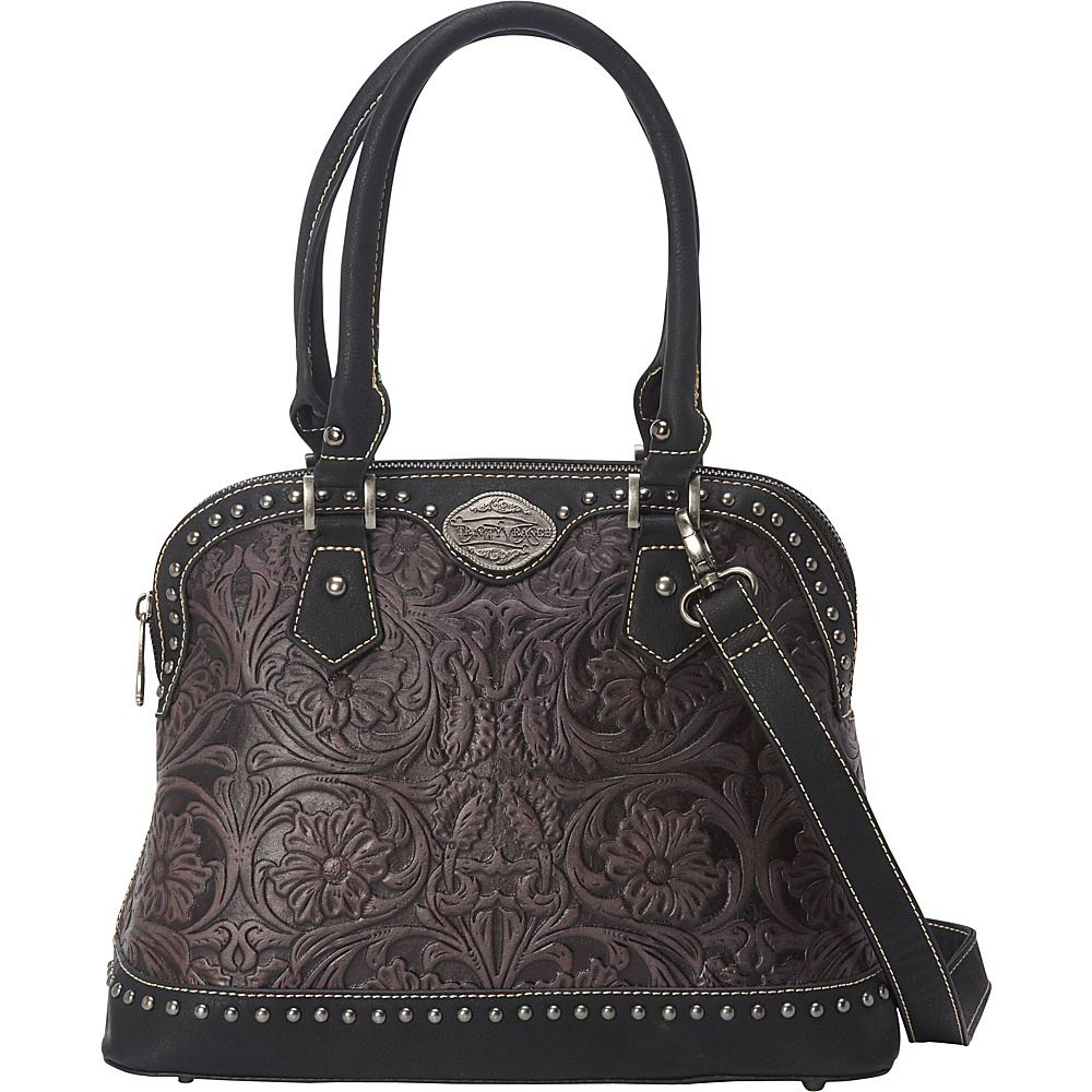Trinity Ranch Tooled Tote Black/Grey - Trinity Ranch Manmade Handbags