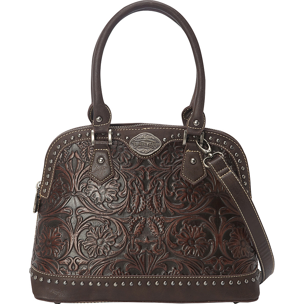 Trinity Ranch Tooled Tote Coffee - Trinity Ranch Manmade Handbags