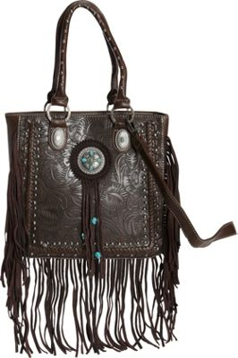 Montana West Aztec Fringe Tote Coffee - Montana West Manmade Handbags