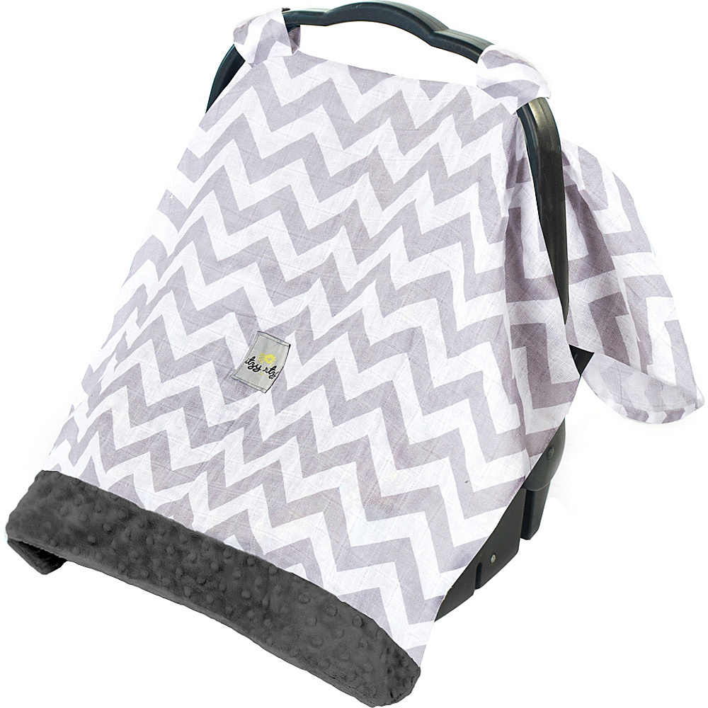 Itzy Ritzy Cozy Happens Muslin Infant Car Seat Canopy C. Grey Chevron with Charcoal Minky Dot Itzy Ritzy Diaper Bags Accessories