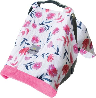 Itzy Ritzy Cozy Happens Muslin Infant Car Seat Canopy Floral Whispers with Pink Minky Dot - Itzy Ritzy Diaper Bags & Accessories