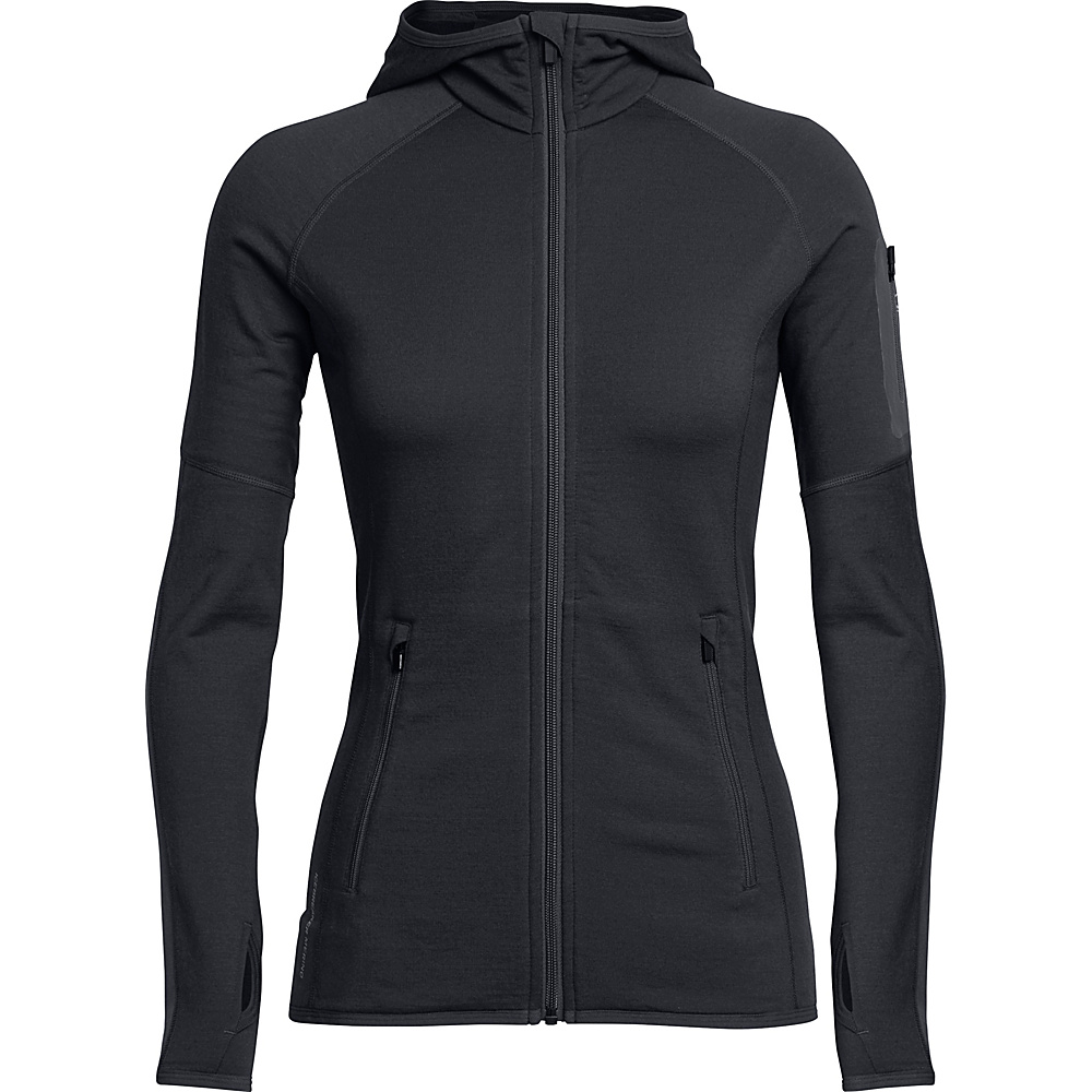 Icebreaker Womens Atom LS Zip Hooded Jacket M - Jet HTHR - Icebreaker Mens Apparel - Apparel & Footwear, Men's Apparel