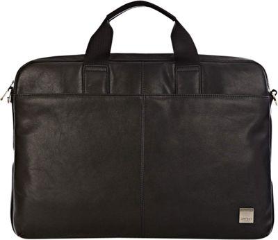KNOMO London Brompton/Durham Full Leather Slim Laptop Carrier 15 inch Black - KNOMO London Non-Wheeled Business Cases