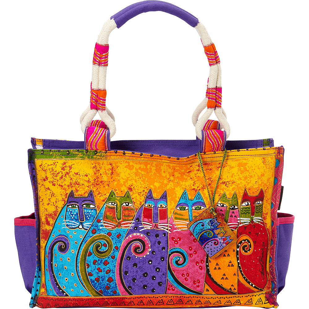 Laurel Burch Feline Tribe Medium Tote Feline Tribe Laurel Burch Fabric Handbags
