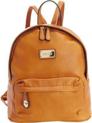 Diophy Signature Logo Backpack Cognac - Diophy Everyday Backpacks
