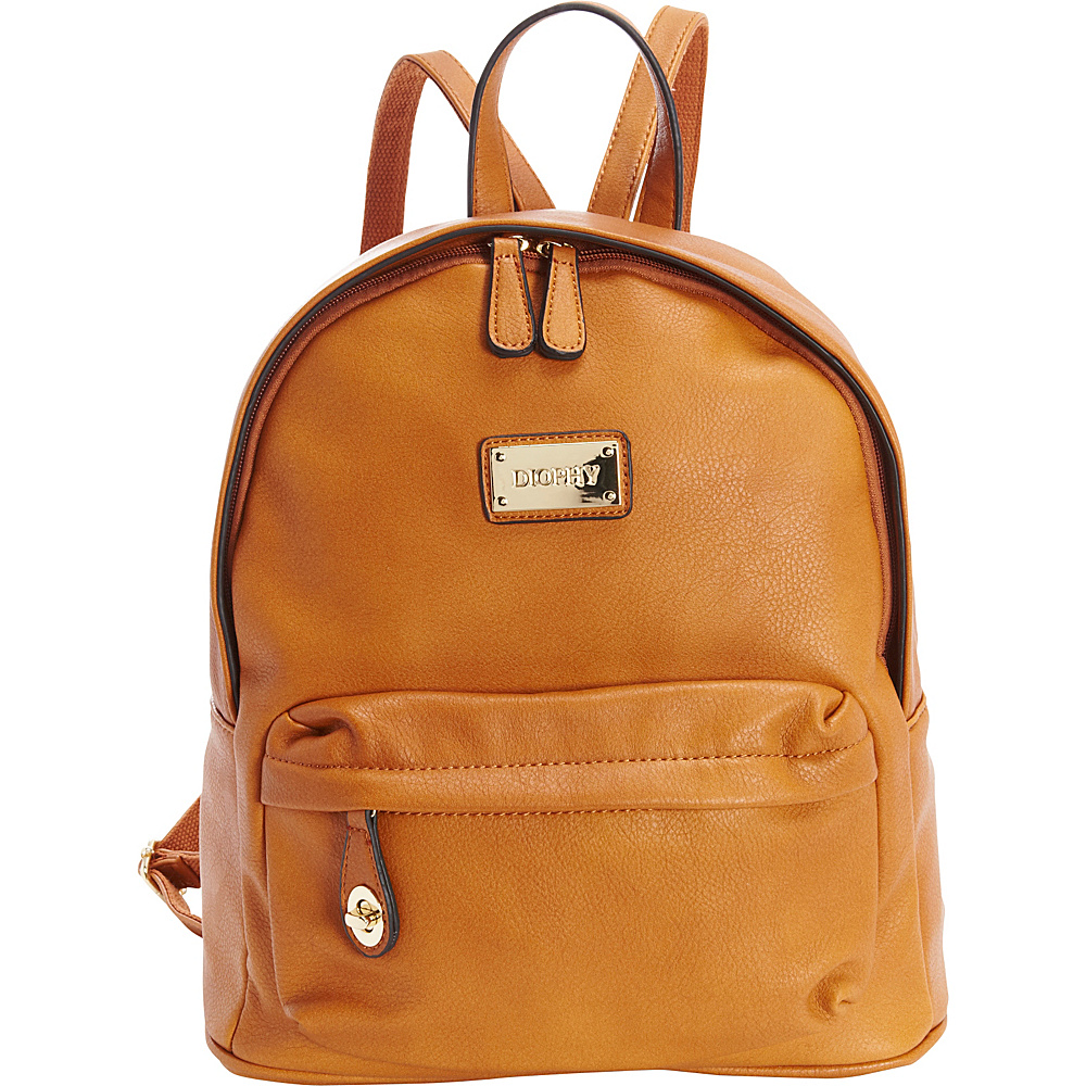 Diophy Signature Logo Backpack Cognac Diophy Everyday Backpacks