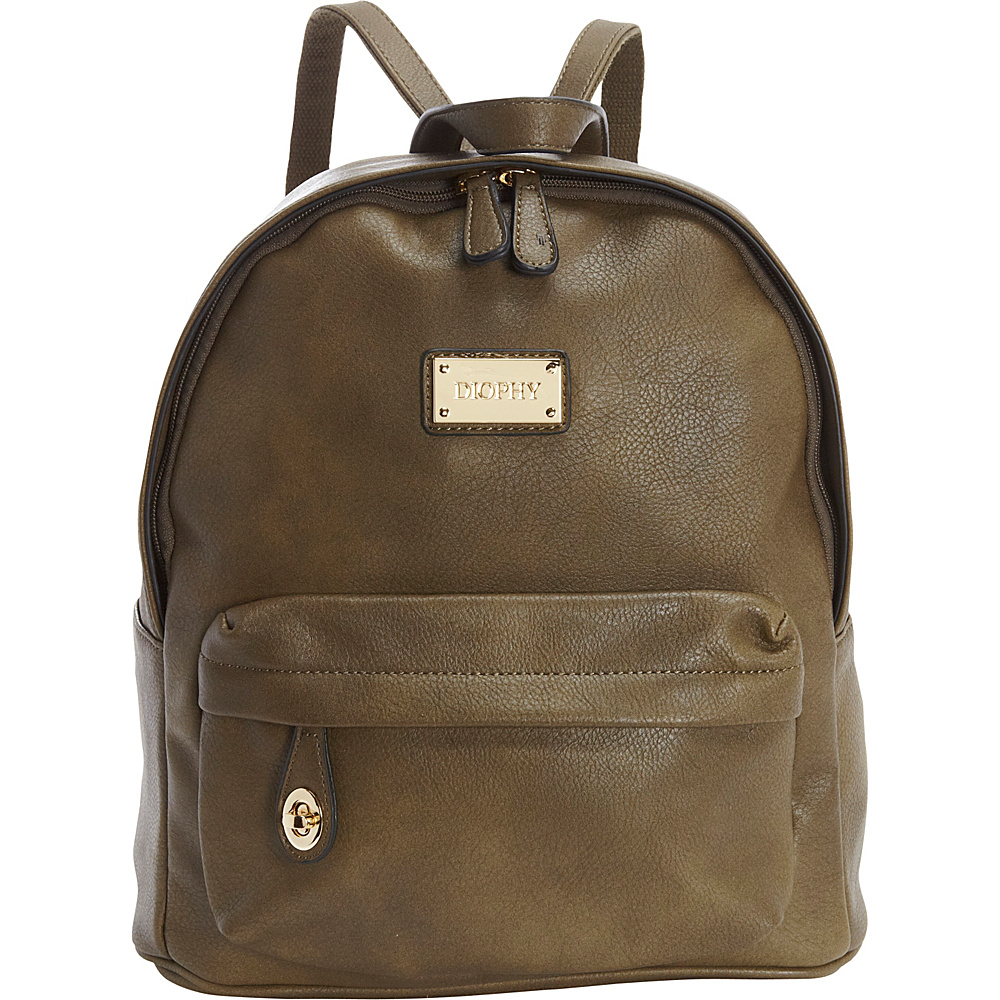 Diophy Signature Logo Backpack Olive Diophy Everyday Backpacks