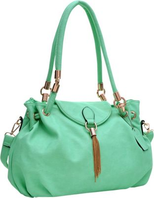 Dasein Loop Through Shoulder Bag with Tassel Accent Green - Dasein Manmade Handbags