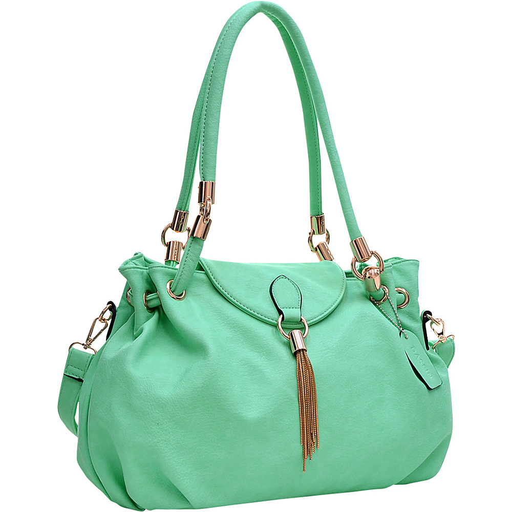 Dasein Loop Through Shoulder Bag with Tassel Accent Green - Dasein Gym Bags - Sports, Gym Bags