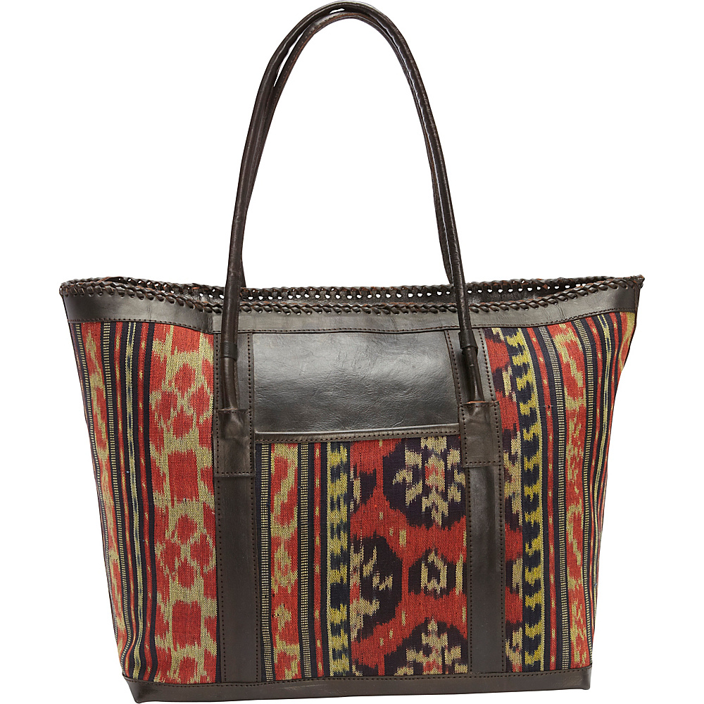 TLC you Nirwana Large Tote Red Black Mustard TLC you Fabric Handbags