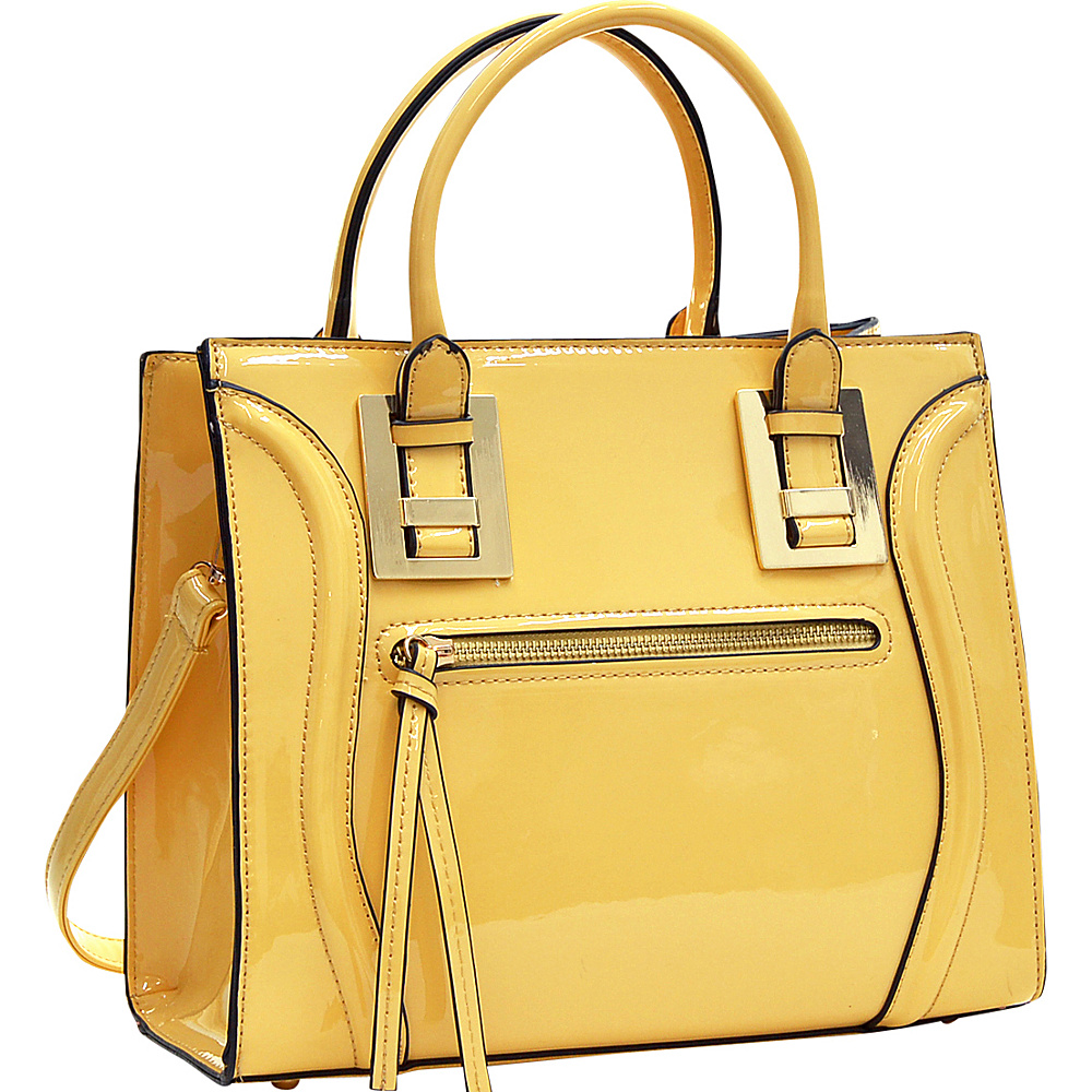 Dasein Structured Patent Faux Leather Satchel Yellow - Dasein Manmade Handbags - Handbags, Manmade Handbags