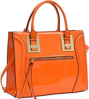 Dasein Structured Patent Faux Leather Satchel Orange - Dasein Manmade Handbags