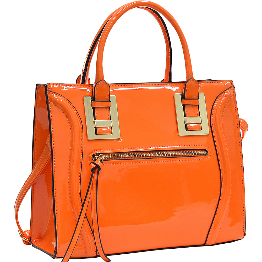 Dasein Structured Patent Faux Leather Satchel Orange - Dasein Manmade Handbags - Handbags, Manmade Handbags