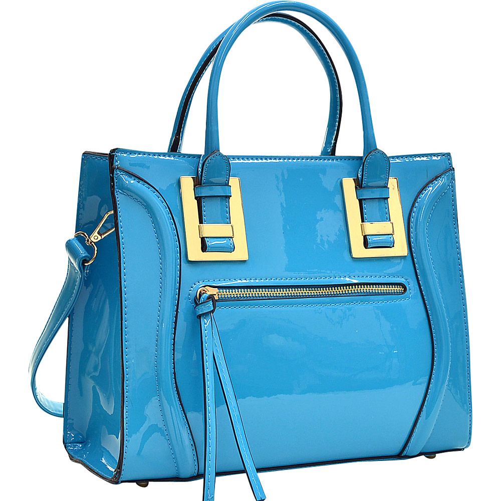 Dasein Structured Patent Faux Leather Satchel Blue - Dasein Manmade Handbags - Handbags, Manmade Handbags