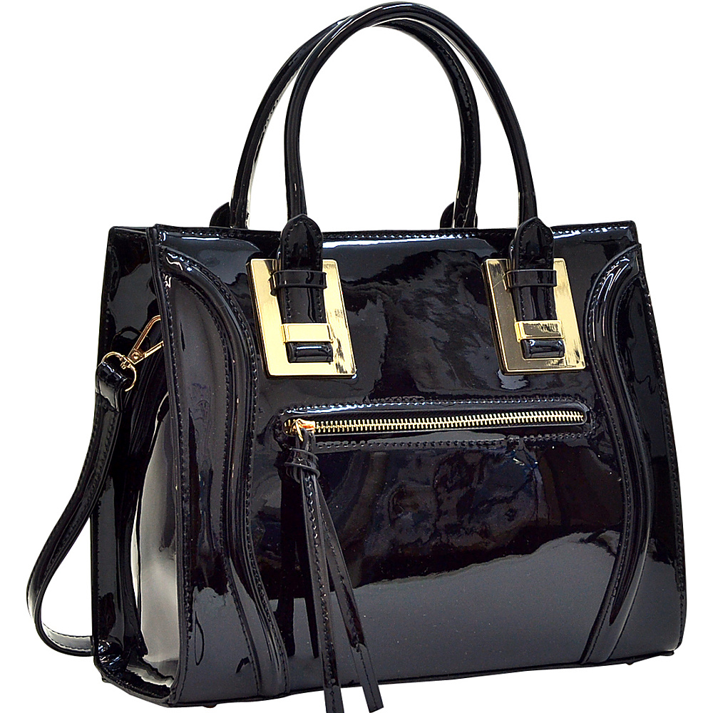 Dasein Structured Patent Faux Leather Satchel Black - Dasein Manmade Handbags - Handbags, Manmade Handbags