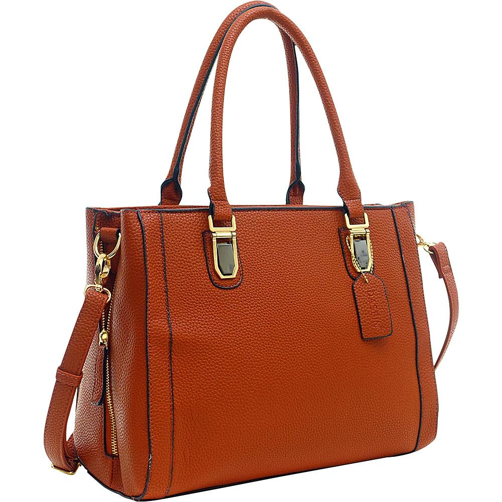 Dasein Buffalo Faux Leather Expandable Tote Brown - Dasein Manmade Handbags - Handbags, Manmade Handbags