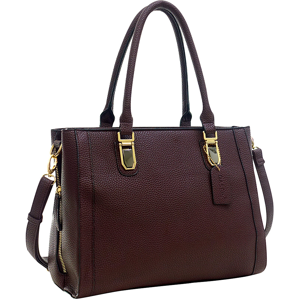 Dasein Buffalo Faux Leather Expandable Tote Coffee - Dasein Manmade Handbags - Handbags, Manmade Handbags