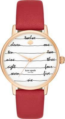 kate spade watches Leather Metro Watch Red - kate spade watches Watches