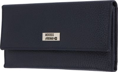 Access Denied Women's RFID Blocking Wallet Trifold Leather with RFID Checkbook Holder 2-in-1 Navy Blue - Access Denied Women's Wallets