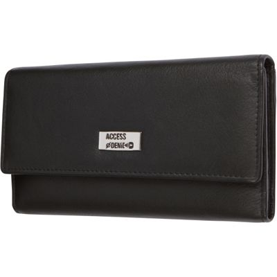 Access Denied Women's RFID Blocking Wallet Trifold Leather with RFID Checkbook Holder 2-in-1 Black Smooth - Access Denied Women's Wallets