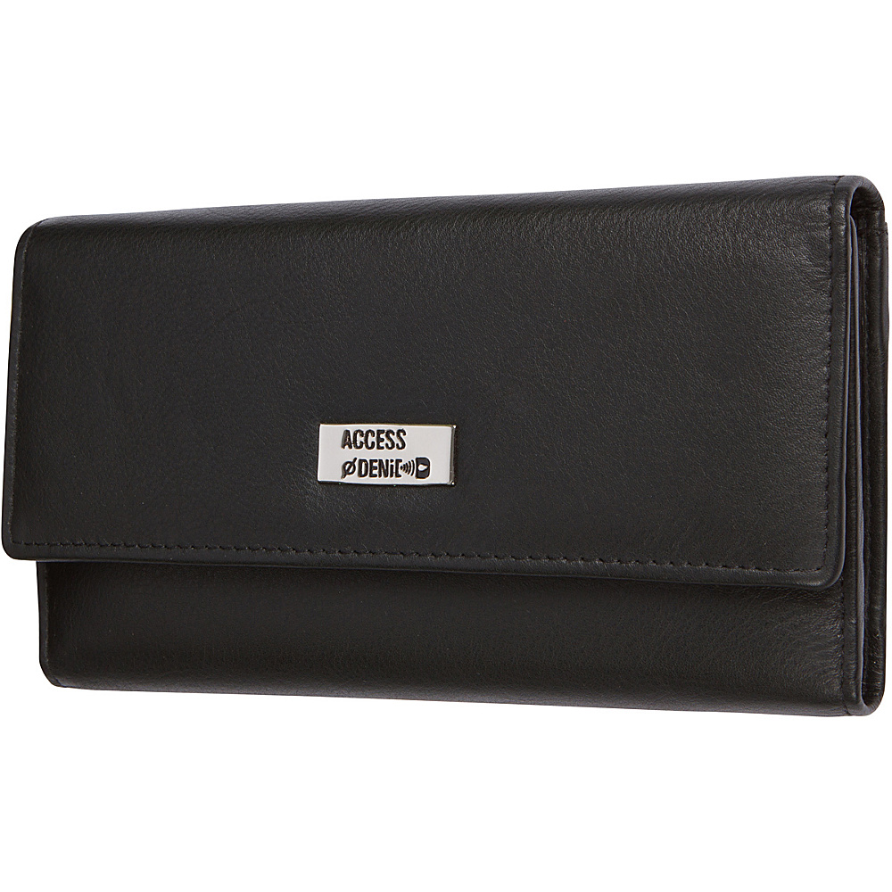 Access Denied Women s RFID Blocking Wallet Trifold Leather with RFID Checkbook Holder 2 in 1 Black Smooth Access Denied Women s Wallets