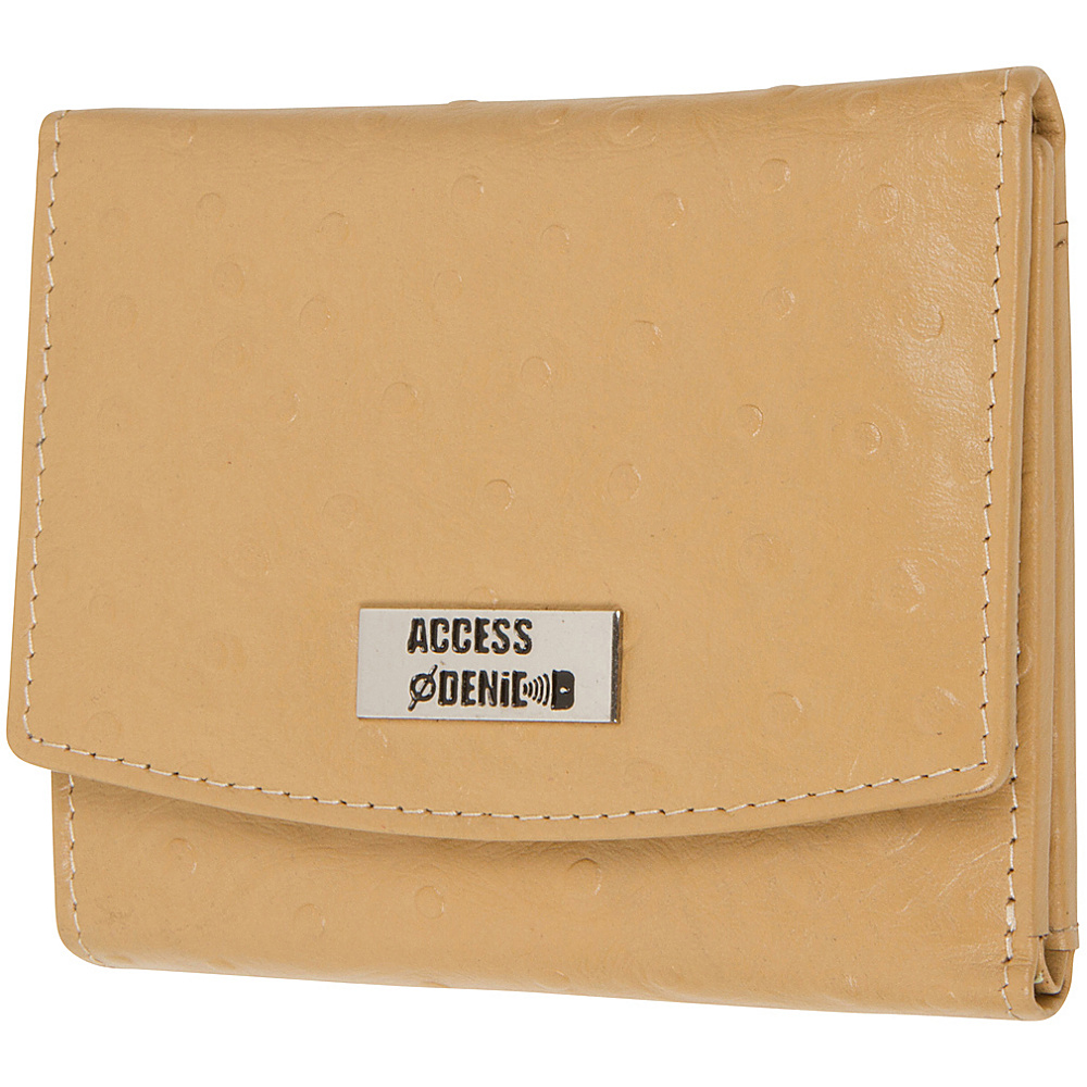 Access Denied RFID Blocking Women s Trifold Wallet Slim Line Camel Ostrich Access Denied Women s Wallets